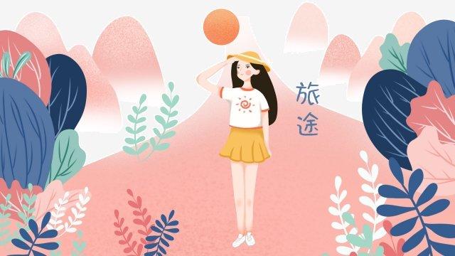 帽子をかぶっている女の子 イラストレーション画像