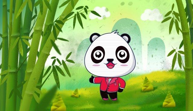 थोड़ा पांडा बांस वन कार्टून शिक्षा चित्रण छवि