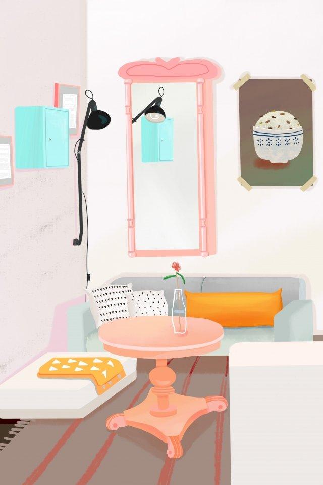 living room home sofa coffee table, Mirror, Reading Light, Photo Frame illustration image