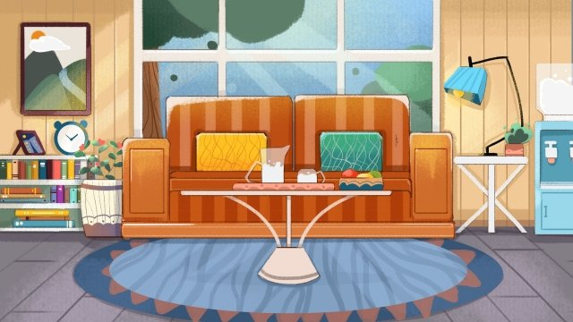 living room sofa decoration indoor, Arrange, Interior Renovation, Living Room illustration image