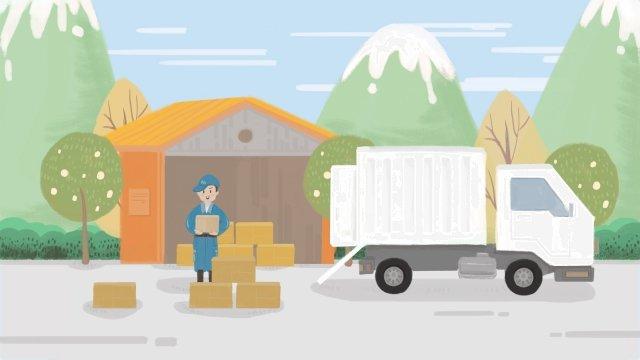 logistics express courier truck warehouse, Hand Painted, Illustration, Logistics Express illustration image