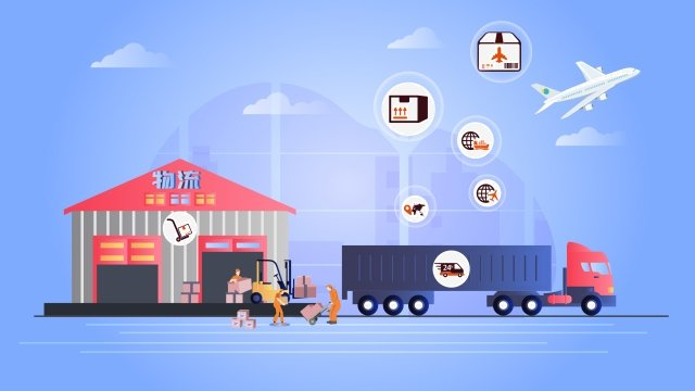 logistics express delivery freight illustration, City, Jobs, Courier illustration image