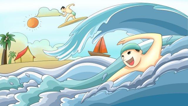 긴 휴가 서핑 다이빙 물 꽃 삽화 소재 삽화 이미지