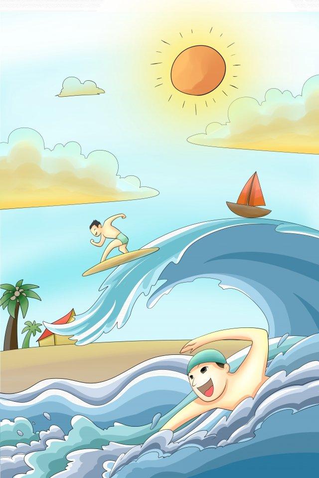 긴 휴가 서핑 다이빙 물 꽃 삽화 소재