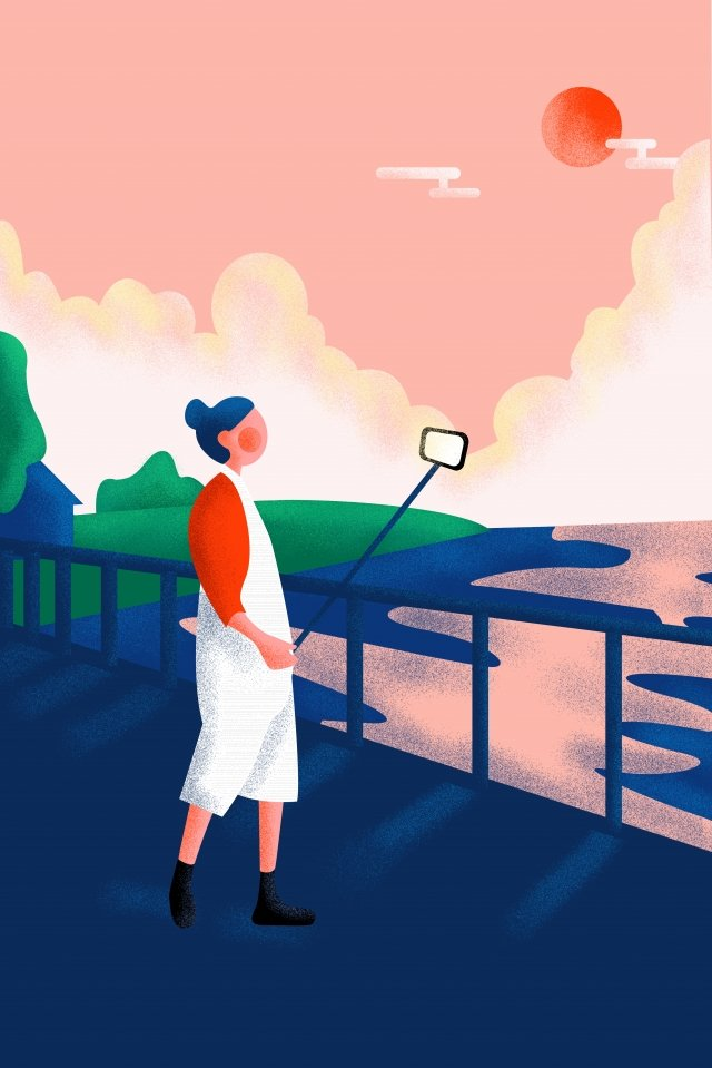 long vacation texture girl selfie llustration image illustration image