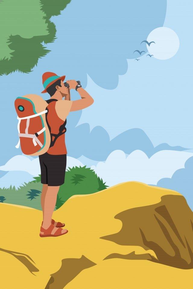 徒歩での長い休暇旅行 イラスト素材