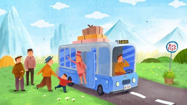 長假旅遊旅遊巴士 插畫素材
