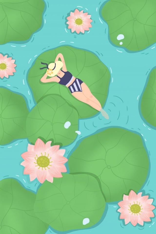 蓮の葉蓮の蓮の池の女性 イラスト素材 イラスト画像