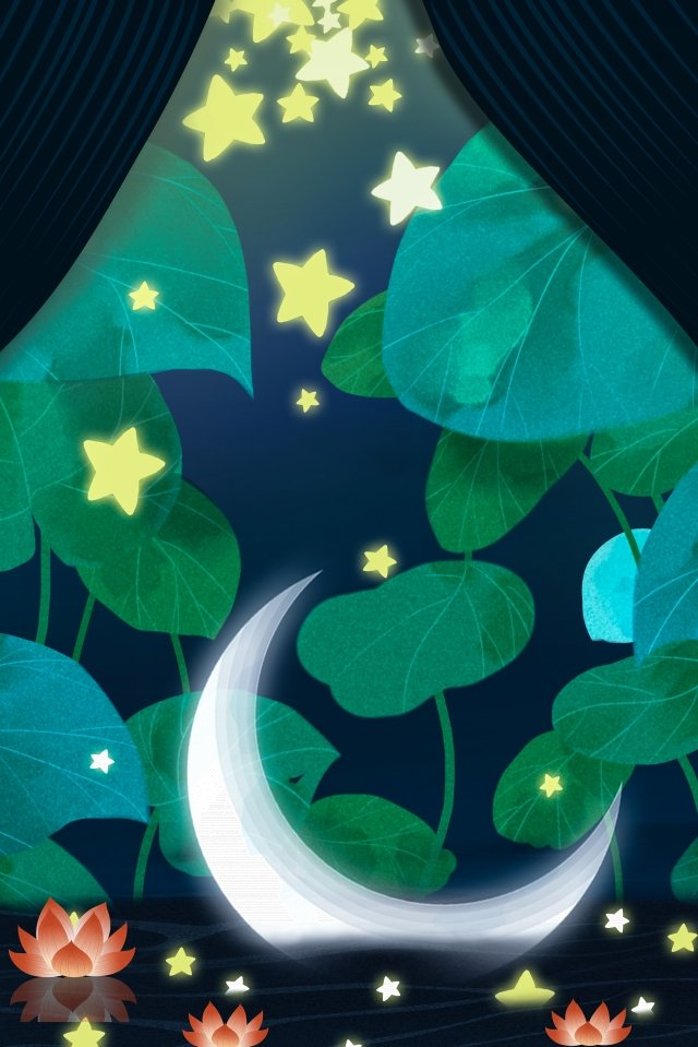 lotus leaf star curtain lotus illustration image