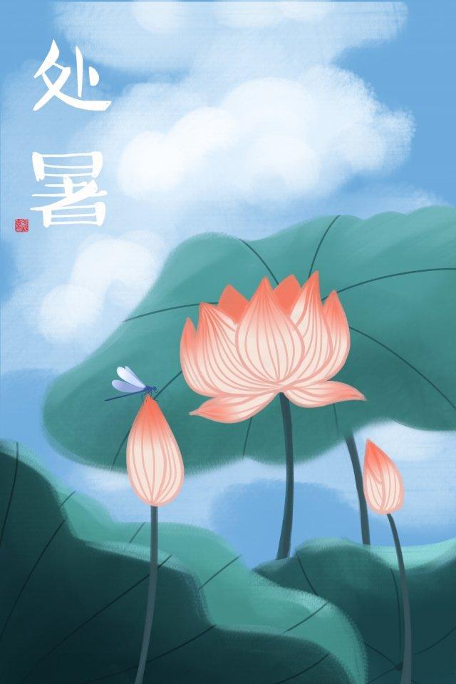 lotus lotus leaf summer dragonfly illustration image