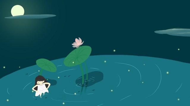 水で遊ぶ蓮の池月光10代の少女 イラストレーション画像