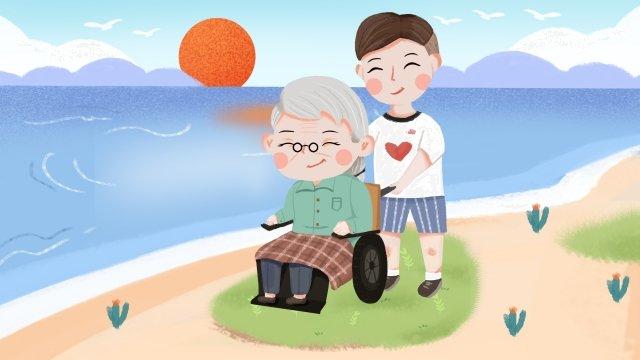 愛慈善人物奶奶海邊 插畫素材