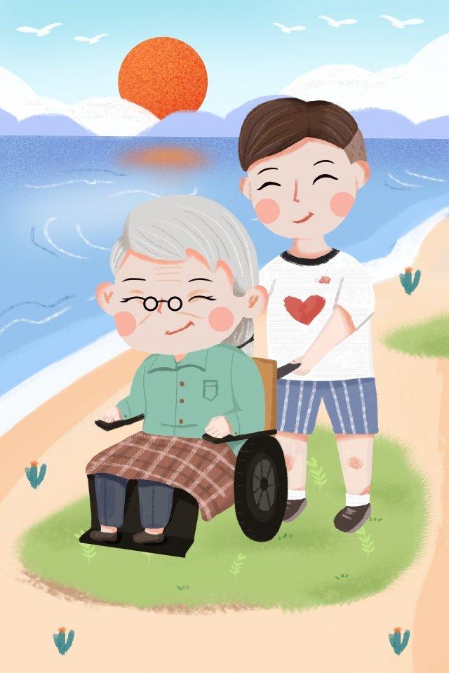 手绘爱心公益敬老插画 爱心公益 人物 老奶奶海边  献爱心  云朵PNG和PSD illustration image