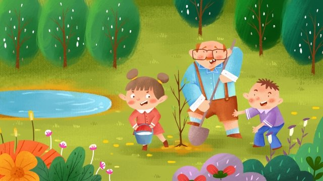 love charity planting trees hand painted illustration, Child, Blue Sky Defense, Poster illustration image