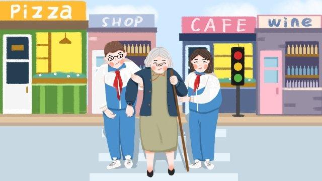 古いキャラクターのおばあちゃんを尊重する愛の慈善団体 イラストレーション画像