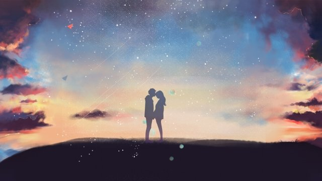 love starry sky beautiful 520 llustration image