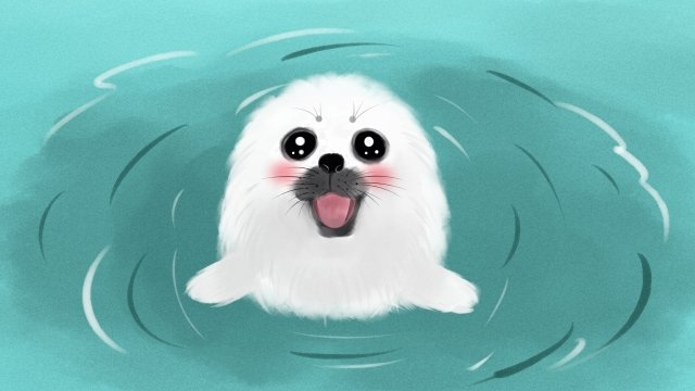 lovely animal cute pet watercolor, Seal, Hand, Drawn illustration image