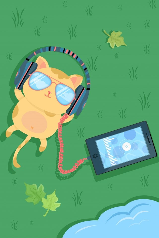 lovely cartoon cute pet cat, Mobile Phone, Listen To Songs, Music illustration image