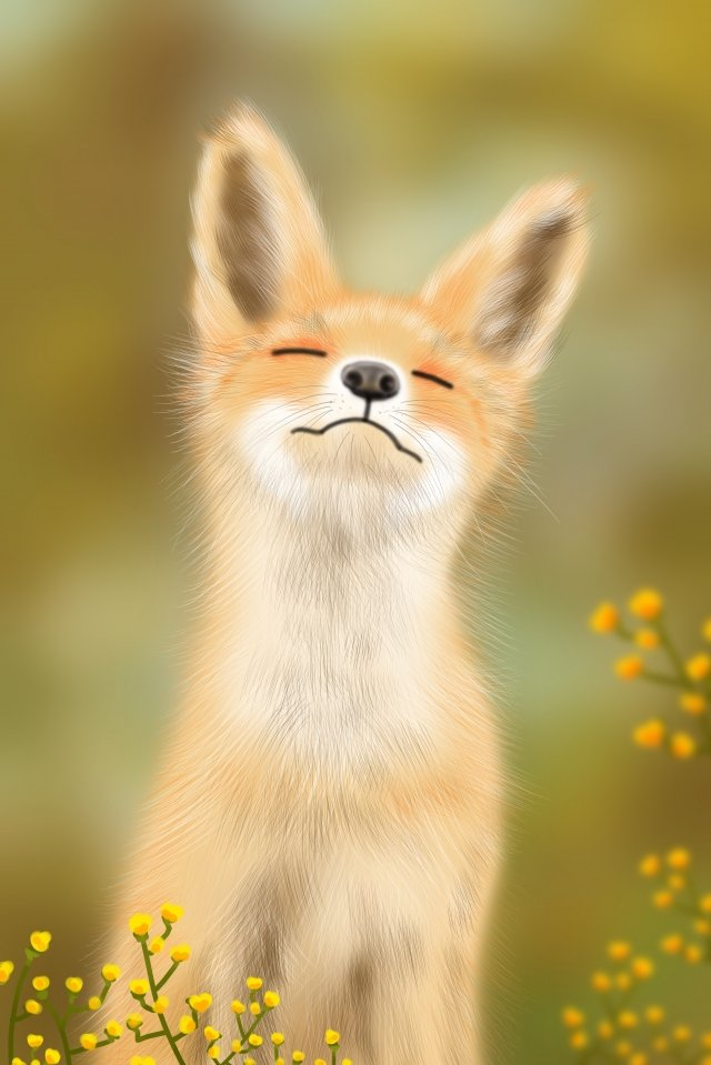 lovely cute pet little fox hand painted llustration image
