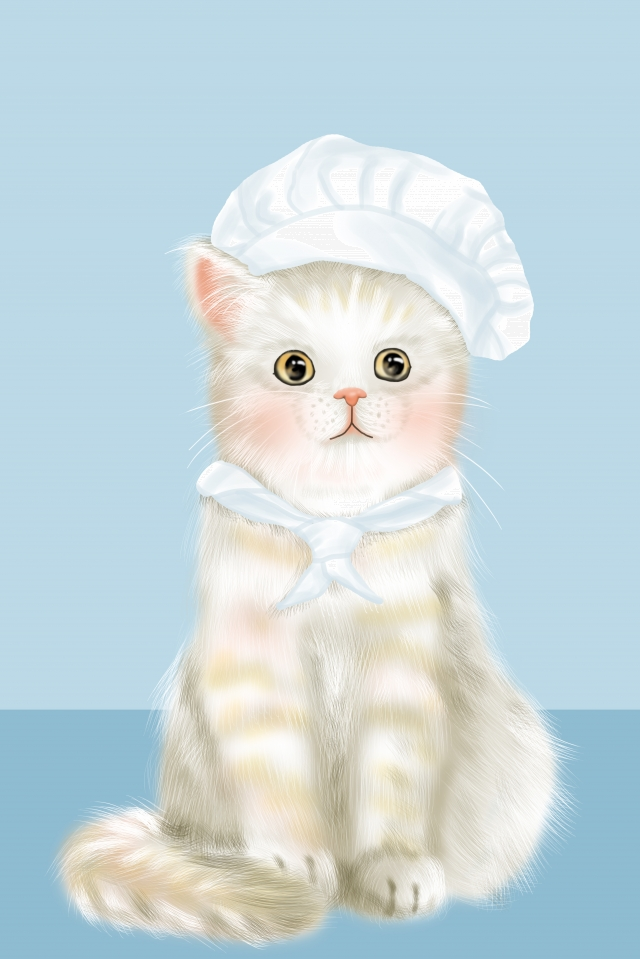 lovely cute pet pet cat, Chef, Hand Painted, Illustration illustration image