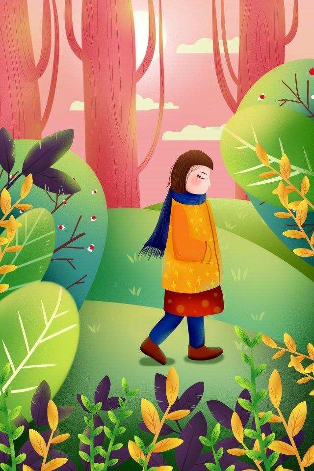 cô gái đáng yêu cây xanh Hình minh họa
