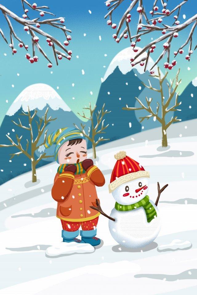사랑스러운 소녀 눈사람 겨울 의류 삽화 소재