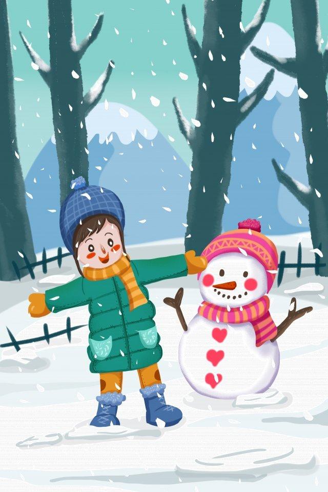 사랑스러운 소녀 눈사람 겨울 삽화 소재
