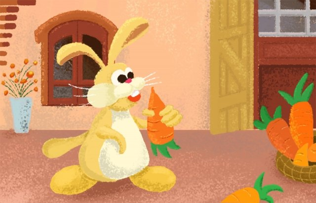 lovely rabbit hand drawn illustration cartoon, Carrot, Door, Window illustration image