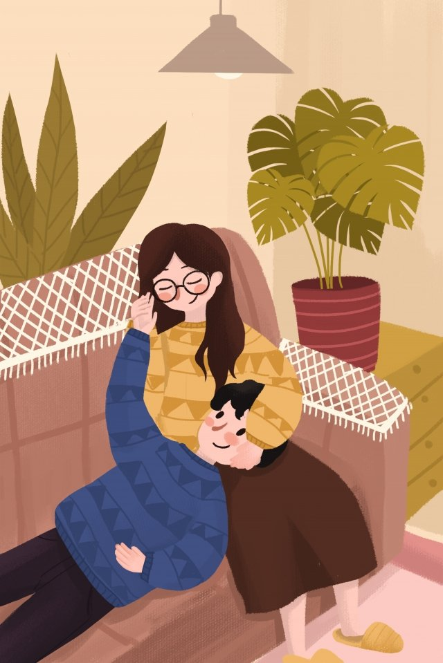lover embrace indoor valentines day, Lovers, Home, Life illustration image