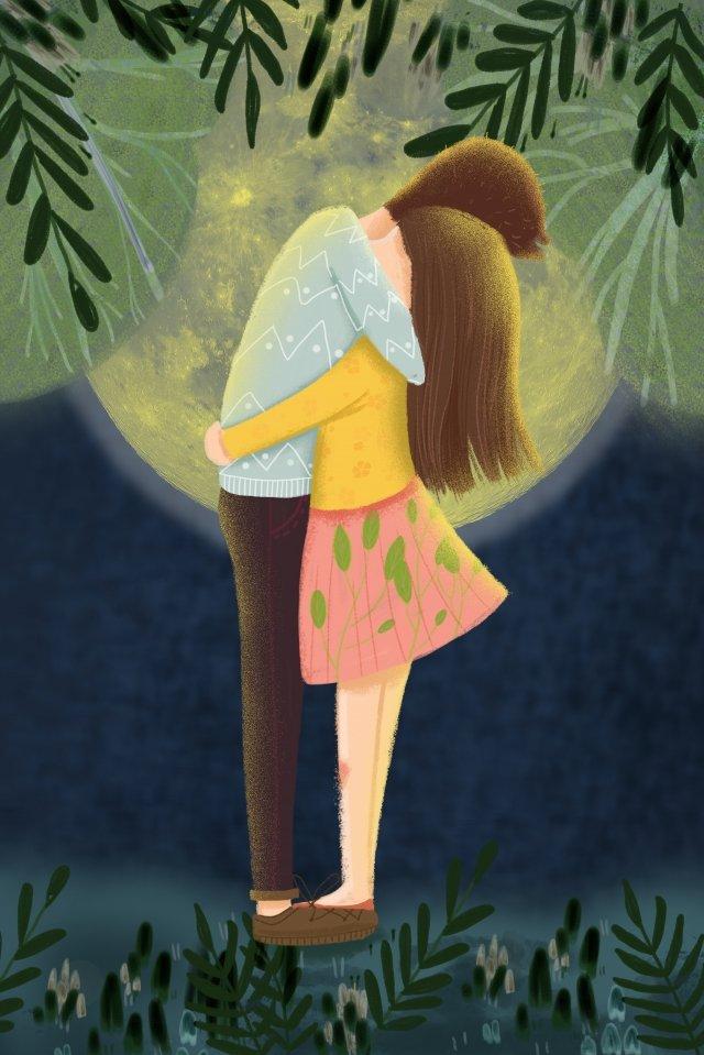 恋人たちは抱擁月を愛する イラスト素材