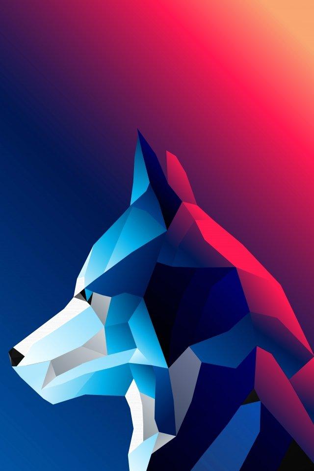 lobo animal arte baixo polígono Material de ilustração