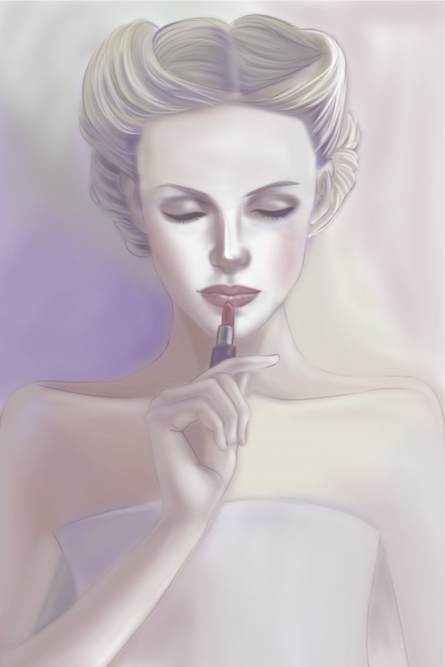 make up apply lipstick model gray tone llustration image illustration image