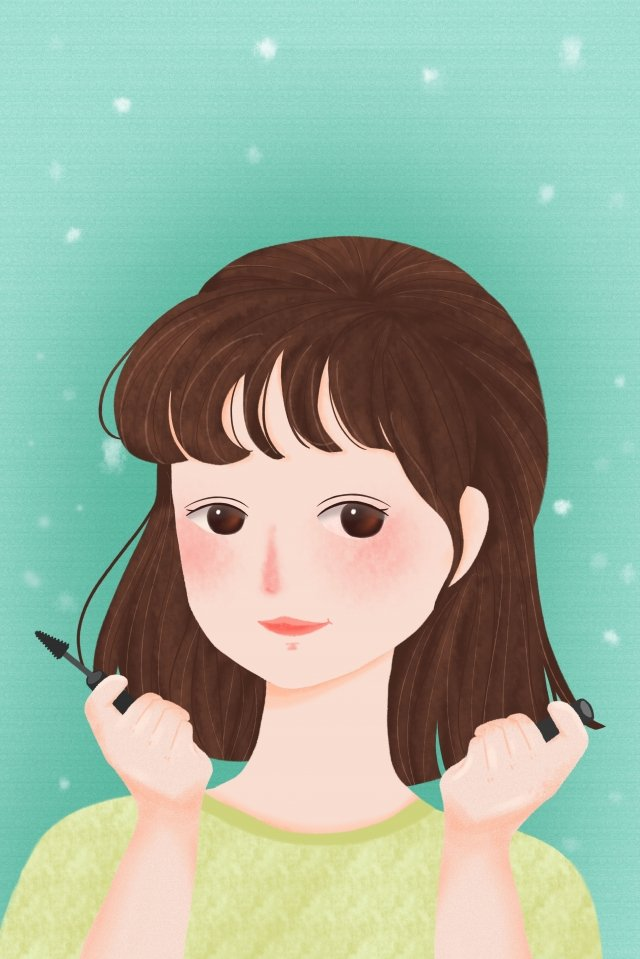 makeups cosmetic make up girl, Female, Painting Eyelashes, Using Cosmetics illustration image