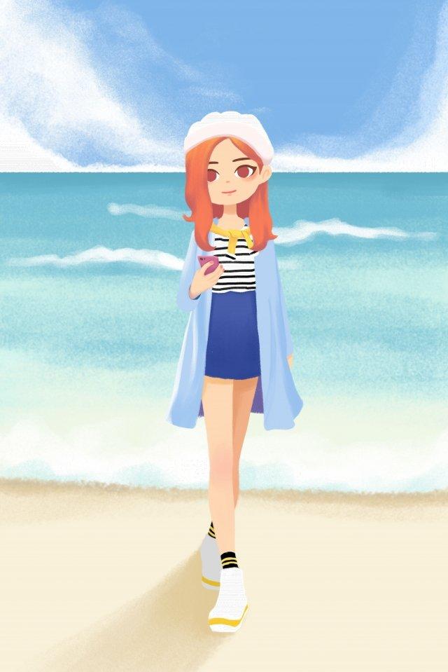 化妝裝備十幾歲的女孩海邊 插畫圖片