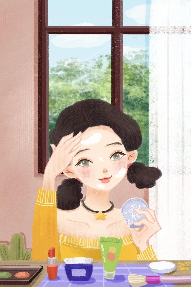 化粧スキンケア10代の少女のキャラクター イラスト素材