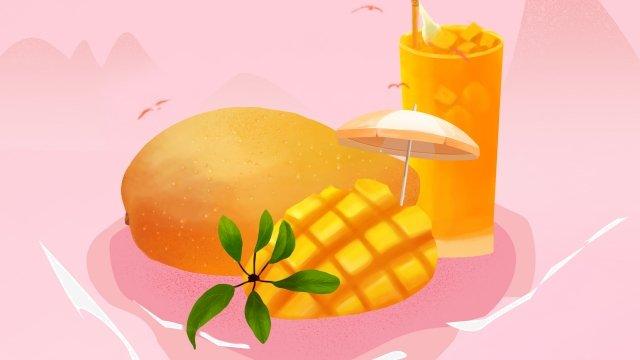 芒果果綠色夏天 插畫素材