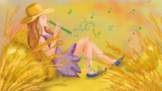マンゴー種手描き少女報酬小麦 イラストレーション画像