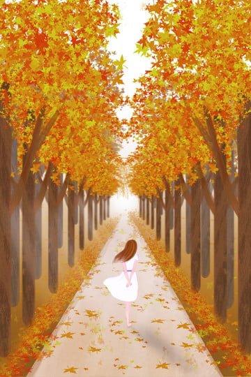 maple forest gold golden autumn fall llustration image