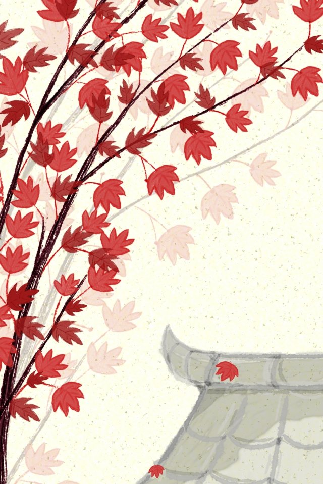 maple roof fallen leaves projection, Roof, Autumn, Season illustration image