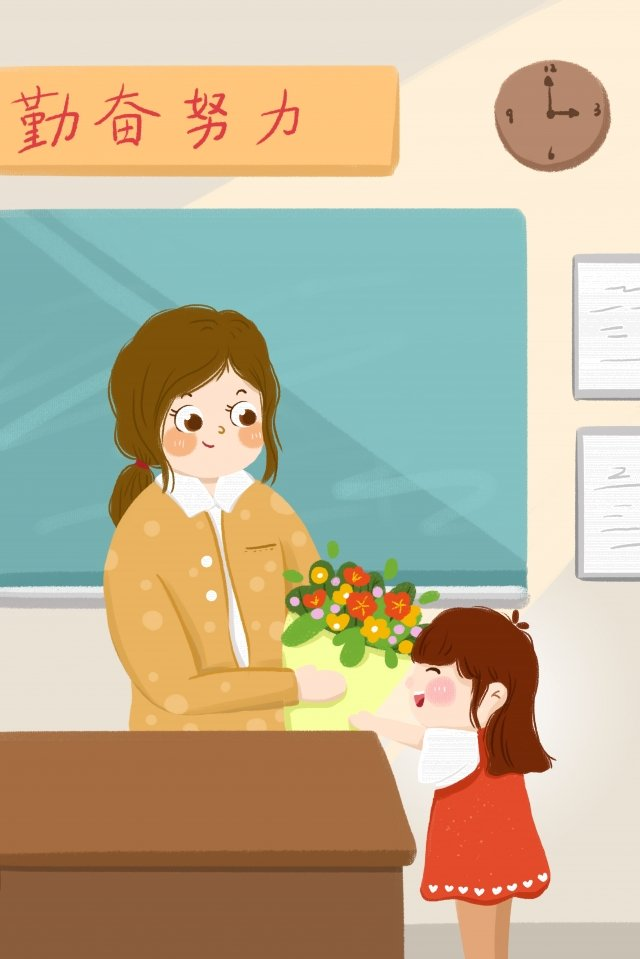 march 8 womens day student send flowers teacher illustration image