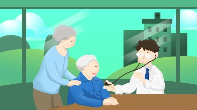 medical health medical examination hospital, Doctors, Old Man, Examination illustration image