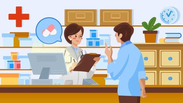 medical pharmacy buy medicine hand painted, Illustration, Lifestyle, Medical illustration image