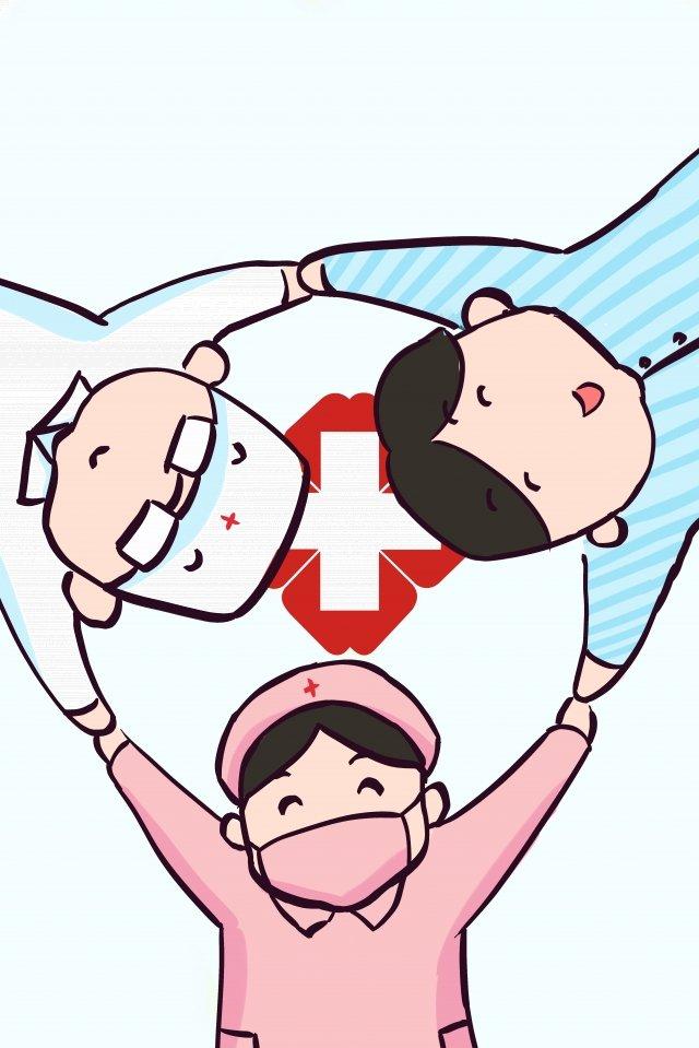 medical stick figure nurse doctors, Patient, Love Each Other, White illustration image