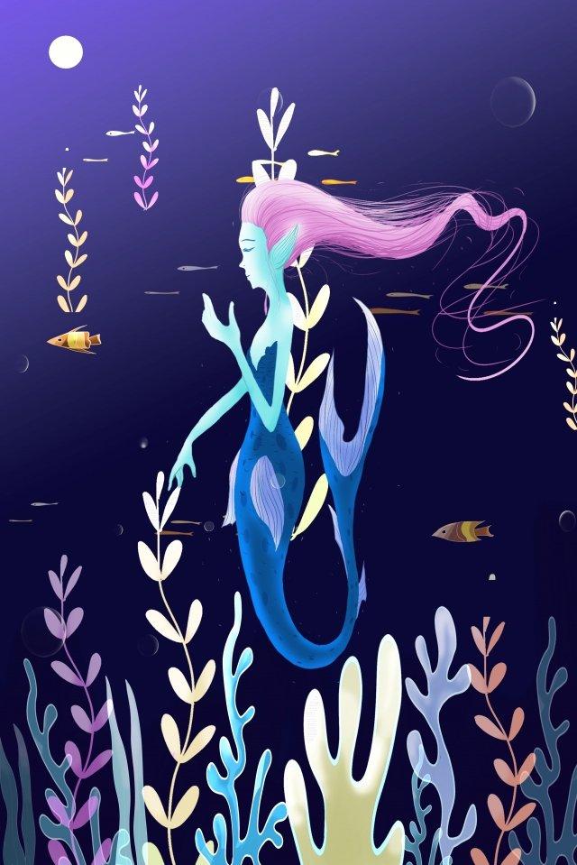 人魚海藻海夜真珠 イラスト素材 イラスト画像