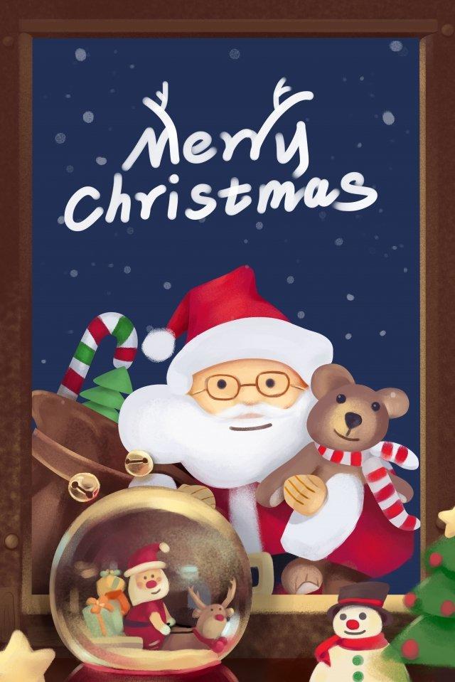 メリークリスマスウィンドウサンタクロースクリスタルボール イラスト素材 イラスト画像