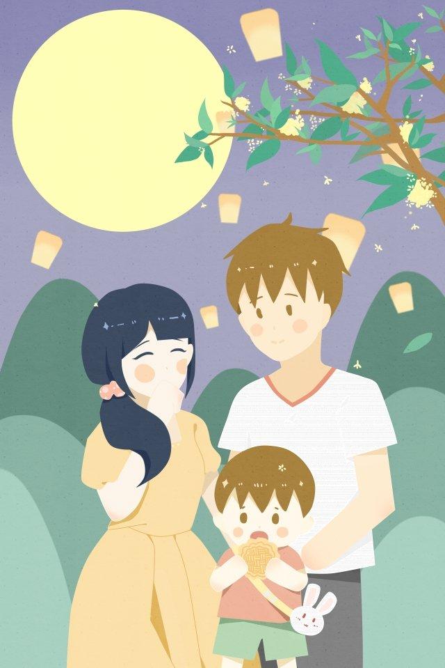 中秋の月餅を食べる3つの丸い月の家族 イラスト素材 イラスト画像