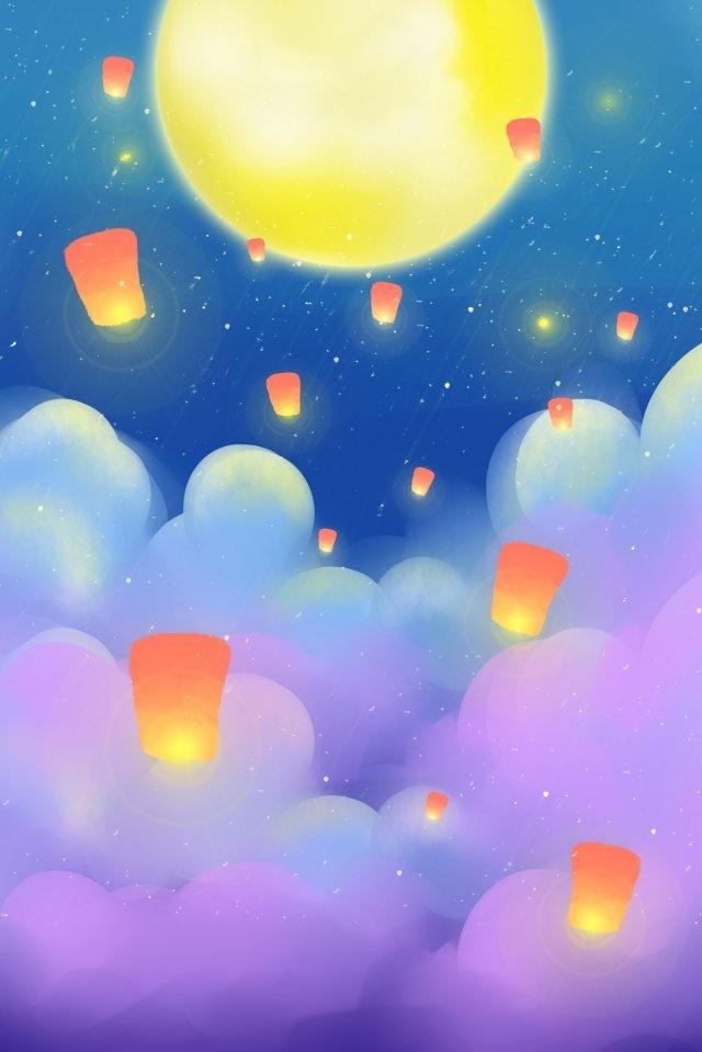 中秋の8月15月明るい月 イラスト画像