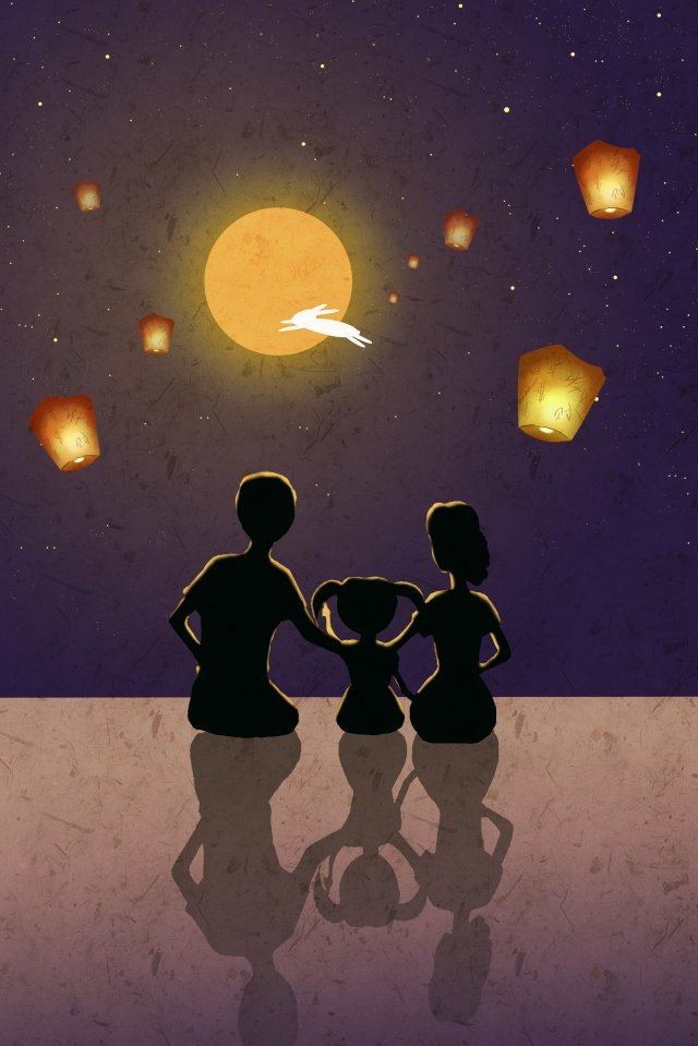 mid autumn enjoying the moon kongming lantern a family of three llustration image