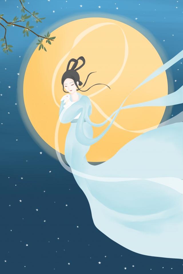 中秋節嫦娥玉ウサギ丸月 イラスト画像
