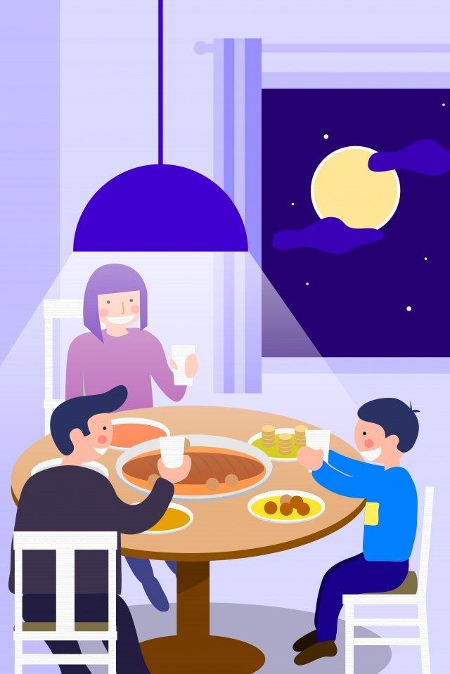 中秋節8月15日家庭幸福 插畫素材